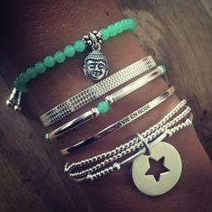 Composition de bracelet pierre semi-précieuse chrysoprase et argent - L'Atelier…