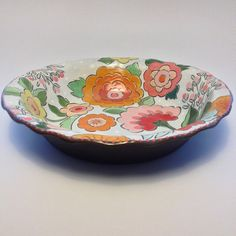 Handmade Ceramic Pie Plate with cheerful floral pattern by ColleenMcCallCeramic
