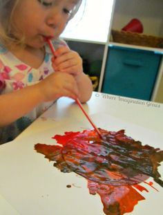 blow painting with straws lion craft for toddlers