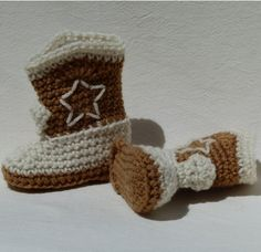 Cowboy Boots Crocheted Baby Booties brown choose a size by GrizzlyCreek on Etsy