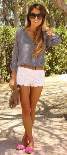 50 Cool Summer Outfits For 2014 lace shorts stripe blouse sunnies!!