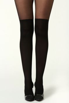 3f8f4b38d Over the Knee all Black Tights ...