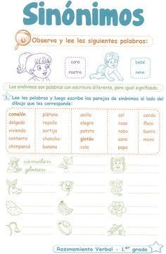 Sinónimos para niños 1° Grado Primaria   Razonamiento Verbal