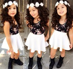 Hot Sell Kids Girls Dress T-Shirt+Skirt A-Line Dress Outfits Set Clothes 2-8Y