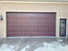 Dark Wood Grain Finish Carriage House Garage Door