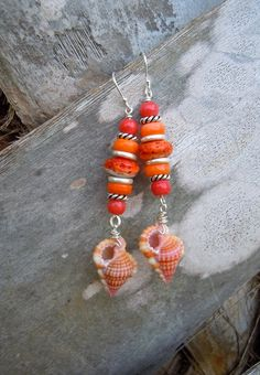 Coral Cave Beauties Triton Seashell Earrings by TheEclecticOcean