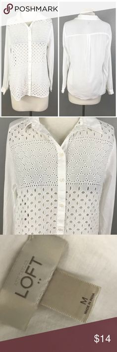 "LOFT White Cotton Eyelet Button Up Blouse Ann Taylor LOFT White Eyelet Button Up Blouse. Size medium. Thank you for looking at my listing. Please feel free to comment with any questions (no trades/modeling).  •Fabric:  100% Cotton  •Bust: 42"" •Length: 24.5"" •Condition:  VGUC, no holes or stains.   25% off all Bundles or 3+ items! Reasonable offers welcome.   BIN: JC LOFT Tops Button Down Shirts"
