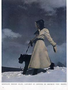Hermès Sportswear 1936 Coat, Photograph by Schal Ski Fashion, Moda Fashion, Sport Fashion, Fashion Prints, 1930s Fashion, 20th Century Fashion, Vintage Fashion Photography, Teddy Coat, Sport Chic