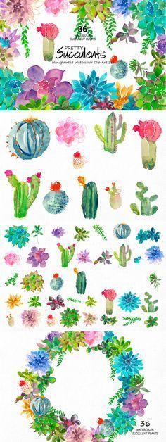 cacti cactus watercolor clip art aqua green Clip Art Wedding Invitation Watercolor Clipart Succulent Plants Pocket Scrapbooking / Project Life / Journaling / Memory Keeping