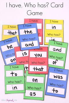 PHONICS: I have, Who has? card game for young kids to teach sight words, alphabet letters, shapes and more! Teaching Sight Words, Sight Word Practice, Sight Word Games, Sight Word Activities, Preschool Sight Words, Fluency Practice, Listening Activities, Therapy Activities, Guided Reading