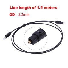 1.5 M Digital De Fibra Óptica Óptica Toslink Macho a Macho Toslink Audio Line Cable OD2.2mm Cable Cuerda del Plomo para DVD, VCR, CD etc.