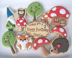 Fantasyland cookies include toadstool mushroom house, adorable hedgehog and fox cookies, and a little knome cookie!
