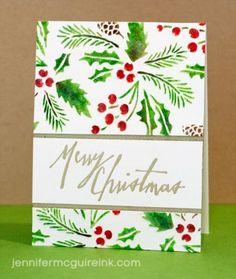 Jennifer McGuire Ink - Tim Holtz Festive Stencil & Handwritten Holidays stamps