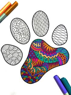 Paw Print PDF Zentangle Coloring Page by DJPenscript on Etsy