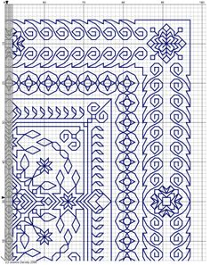 Blackwork Cross Stitch, Cross Stitch Geometric, Blackwork Embroidery, Cross Stitch Borders, Modern Embroidery, Cross Stitching, Cross Stitch Embroidery, Embroidery Patterns, Cross Stitch Patterns