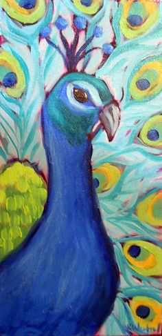"""peacock"", oil on canvas, 12 x 6 inches.  ©2012  Kristina Wentzell    100 Paintings for $100 or Less by Kristina Wentzell Fine Art"
