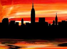 Manhattan print -Modern New Yotk City painting print, orange black art, New York City skyline painting by Francine Bradette-FREE S&H