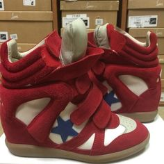 96a77e6d9ab2 Isabel Marant Bayley Over Basket Red Athletic Red Wedge Sneakers