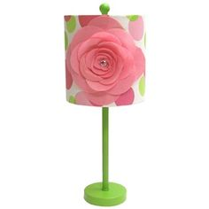 """Enhance and enliven décor with this bright Green Base Lamp with Polka Dot & Pink Flower Shade.    The shade measures approximately 9"""" x 9 1/4"""". The entire lamp measures approximately 9 1/4"""" x 23"""" and features a turn switch knob. Use with a 60 Watt Type """"A"""" light bulb (not included)."""