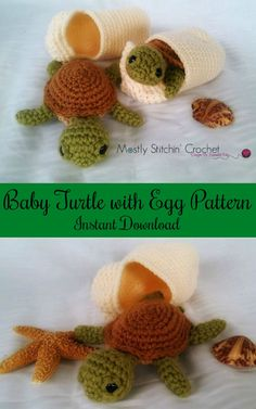 Sooo Cute, Love this! Found on Etsy, baby turtle with egg crochet pattern #ad #Etsy #turtle #crochet