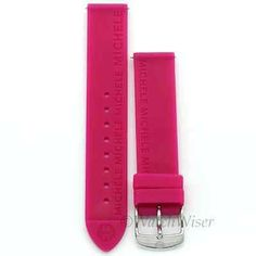Michele 16mm Pink Rubber Silicone Strap Band Silver Tone Buckle
