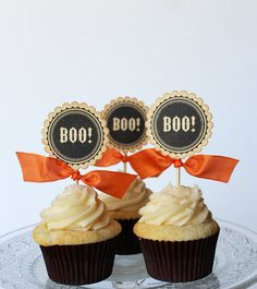 Boo Halloween cupcake toppers