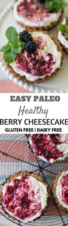 Dairy free berry cheesecake and only 2 Tbsps of maple syrup. Best healthy paleo desserts for summer. Patisserie Sans Gluten, Dessert Sans Gluten, Paleo Dessert, Healthy Dessert Recipes, Health Desserts, Gluten Free Desserts, Vegan Desserts, Whole Food Recipes, Vegaterian Recipes
