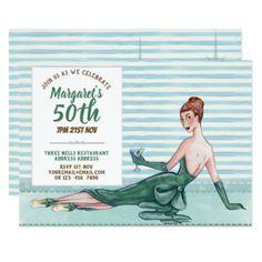 Elegant 50th 60th Birthday Invite RETRO Aqua Green - invitations personalize custom special event invitation idea style party card cards