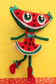 RESERVED for Amanda Sandy felt watermelon doll by camamiel on Etsy