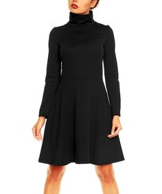 Another great find on #zulily! Karen Black Turtleneck A-Line Dress by Karen #zulilyfinds