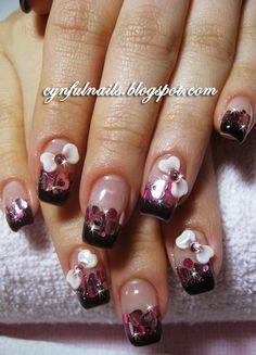 More 3D nail art. Pretty. Hearts . Rhinestones . Pink . Bows . Acrylic . Black french.