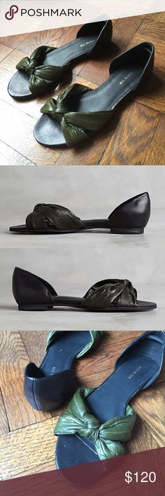 """Anthropologie Sandals! All Black Eel Bow Flats by All Black Eel skin flats from All Black add a touch of texture. Fits true to size Eel skin upper Leather insole Synthetic sole. Back heel elastic supports helps keep show on making these a practical summer must! 9.5"""" L Anthropologie Shoes Sandals"""
