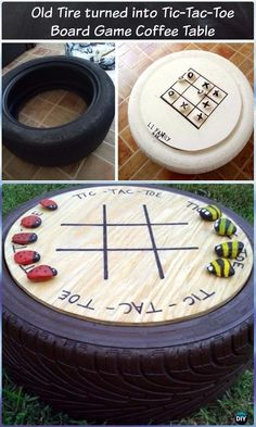 old tires ideas garden decorations DIY Old Tire Tic Tac Toe Board Game Table - DIY Old Tire Furniture Ideas Board Game Table, Table Games, Board Games, Game Tables, Backyard For Kids, Backyard Games, Diy For Kids, Tyre Ideas For Kids, Diy Garden Ideas For Kids