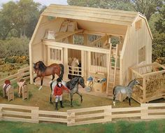 Wood Corral 11 sections make a total length of eight feet! Matches with our Deluxe Wood Barn with Cupola, but is a great accessory to any of our playsets or just to keep your horses at home! Barn, horses, riders and accessories not included. Wooden Toy Barn, Barn Wood, Wooden Fence, Wooden Horse, Wooden Train, Horse Stables, Horse Barns, Barn Plans, Shed Plans