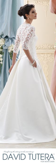 The David Tutera for Mon Cheri Fall 2015 Wedding Gown Collection - Style No. 215279 Ellie davidtuteraformoncheri.com #longsleeveweddingdress