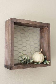 Chicken Wire & Wood Shelf Wood Shelf by LenasWillow on Etsy