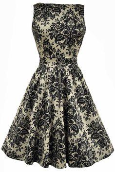Lady V London Vintage Damask Delight Print TEA Dress Rockabilly Pinup 50'S   eBay