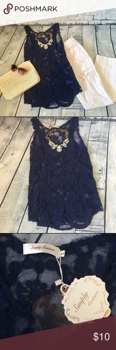 Navy Blue Lace Tank Top NWT Lacy navy blue see through layering tank top in size L. New with tags! Simply Couture Tops Tank Tops