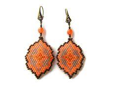 Dangle brick stitch earrings - Native tribal earrings - Geometrical earrings - Seed bead earrings - Hook earrings
