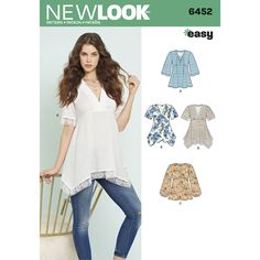 Misses Tops with Bodice and Hemline Variations New Look Sewing Pattern 6452. Size 8-20.