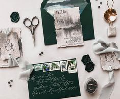 This elopement suite has us... 😍 The moody hues, the watercolor, the texture... we love it all. ✨ The suite features natural deckle edge paper, paired with forest green envelopes and wax seals. Wrapped with frayed silk chiffon through coordinating fog grey eyelets. 💌 Celebrations of love are such joyous occasions. Elopements, micro, and large scale. Stationery can be used to share that joy with all you hold close to your heart, even if they aren't in attendance. ♥️ Custom Stationery, Stationery Design, Custom Invitations, Wedding Invitations, Attendance, Elopements, Wax Seals, Silk Chiffon, Envelopes
