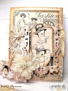A Ladies' Diary Monochromatic Card by Kathy Clement Product by Graphic 45 Photo 1