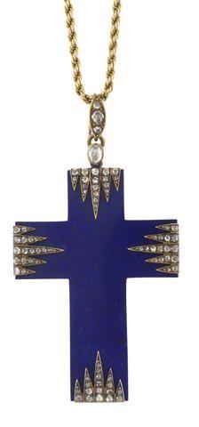 An antique lapis lazuli and diamond cruciform pendant,