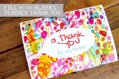 Fill-In Teacher Thank You | Free Printable | Lil Blue Boo