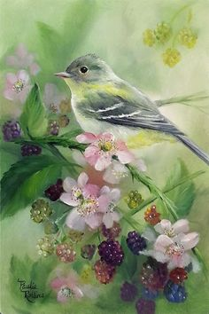 'Blackberry Guardian' - original fine art by Paulie Rollins -- (birds, aviary…