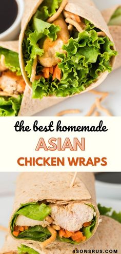 Asian chicken wraps are fresh take on plain old sandwiches. Chock full of flavor and crunch, these make a delicious lunch or the perfect light dinner. #chickenwraps #recipe #snack #lunch