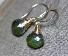 Green Vesuvianite Earrings Green Earrings by TheTwistedPretzel