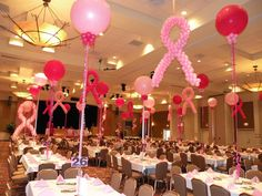 Breast cancer event decor. Such an inspiring cause, and these decorations are very cute and have such an impact on the look of the event.