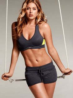 Doutzen in short grey workout clothes - For the FULL Diet & Workout plan Click on the Link!