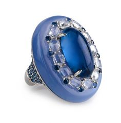 Chalcedony is said to absorbs negative energy and dissipates it.  It harmonizes mind, body, and spirit.  This stunning Blue Chalcedony and Sapphire ring definitely exudes positive energy!! $4200 www.cbluxe.com